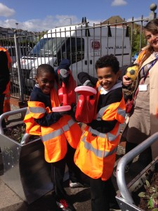 Young people from Hannah More School helping us at Lawrence Hill Station